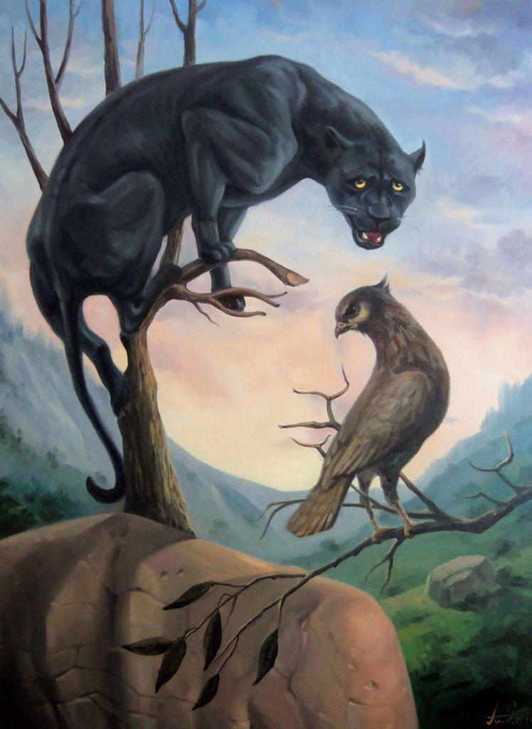 Le Peintre Artush Voskanyan Cree Des Illusions De Visages Avec Des Mises En Scene D Animaux