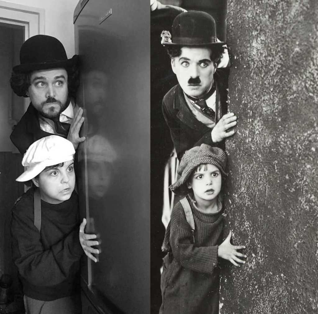 Détournement du film Le Kid avec Charlie Chaplin