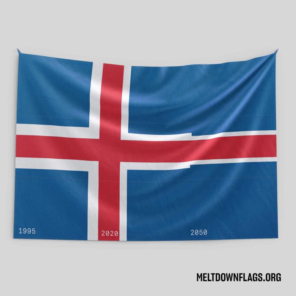 Le drapeau de l'Islande selon l'évolution de la fonte des glaces