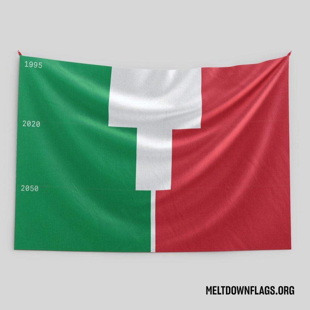 Le drapeau de l'Italie selon l'évolution de la fonte des glaces