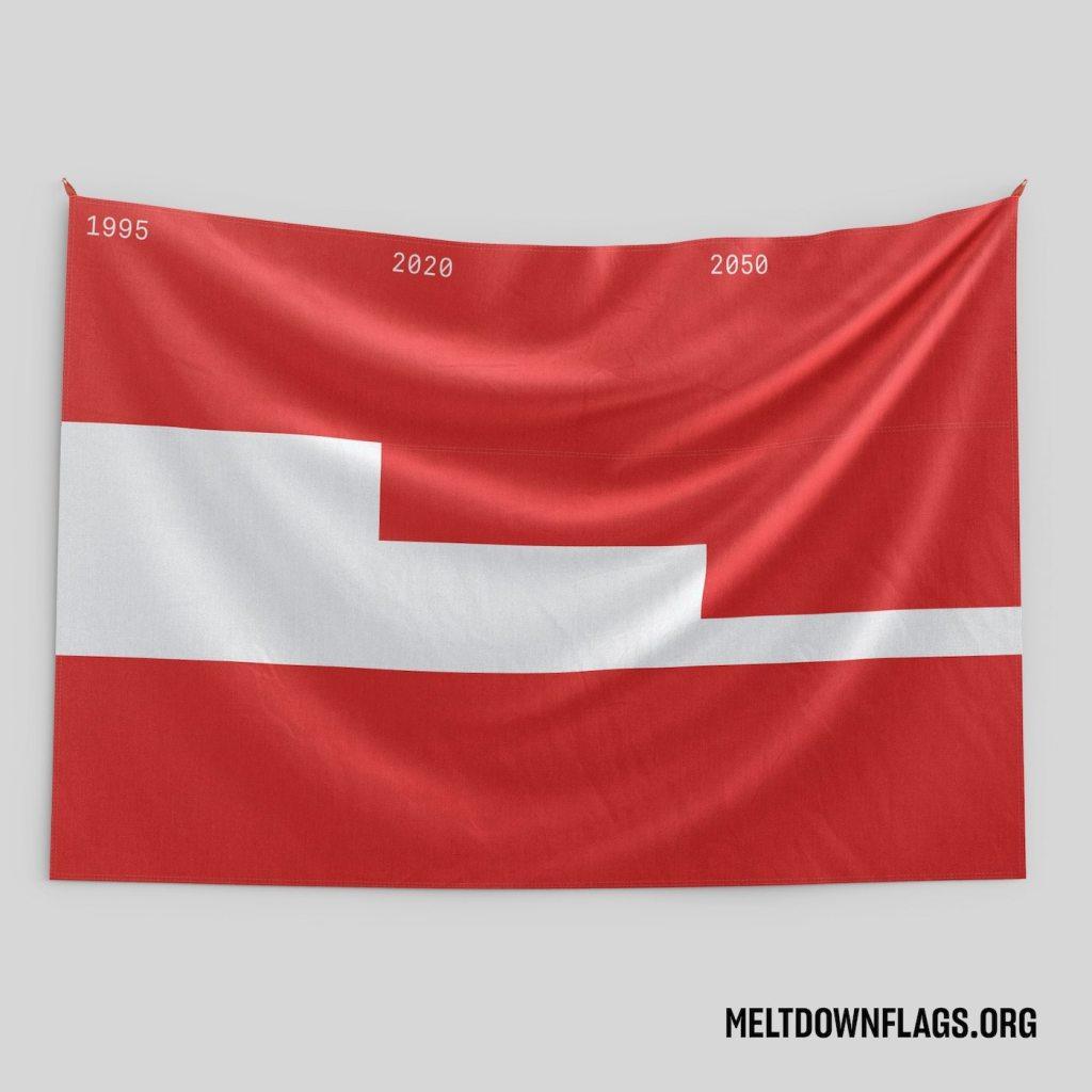 Le drapeau de l'Autriche selon l'évolution de la fonte des glaces