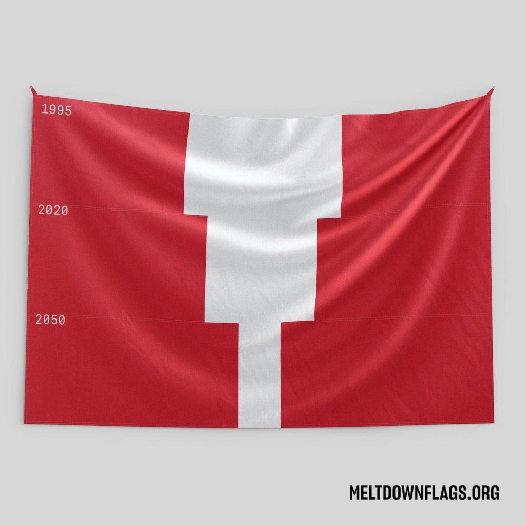 Le drapeau du Pérou selon l'évolution de la fonte des glaces