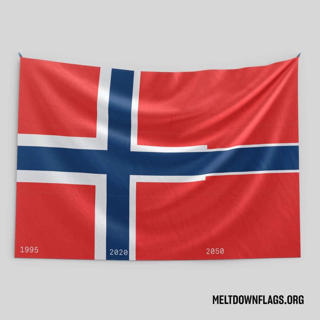 Le drapeau de la Norvège selon l'évolution de la fonte des glaces