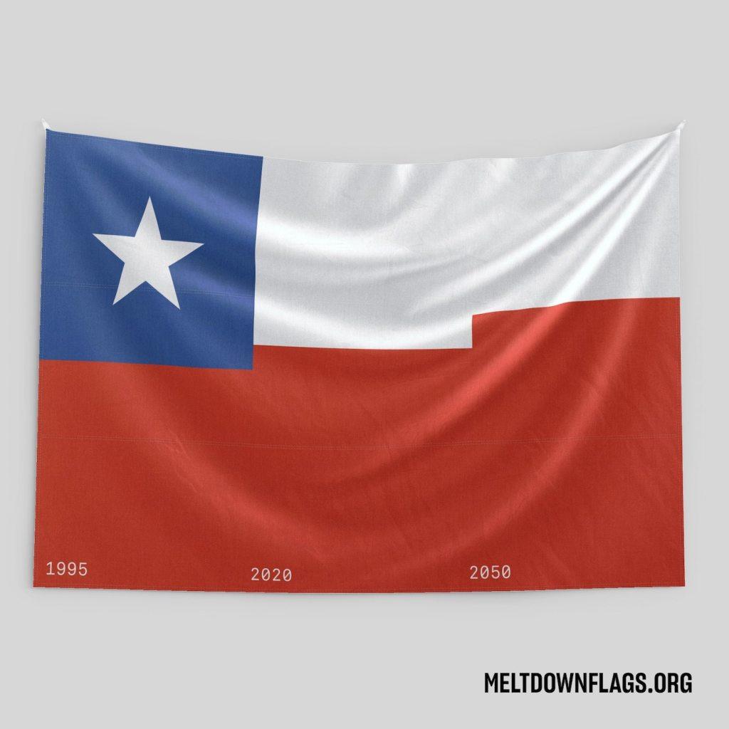 Le drapeau du Chili selon l'évolution de la fonte des glaces