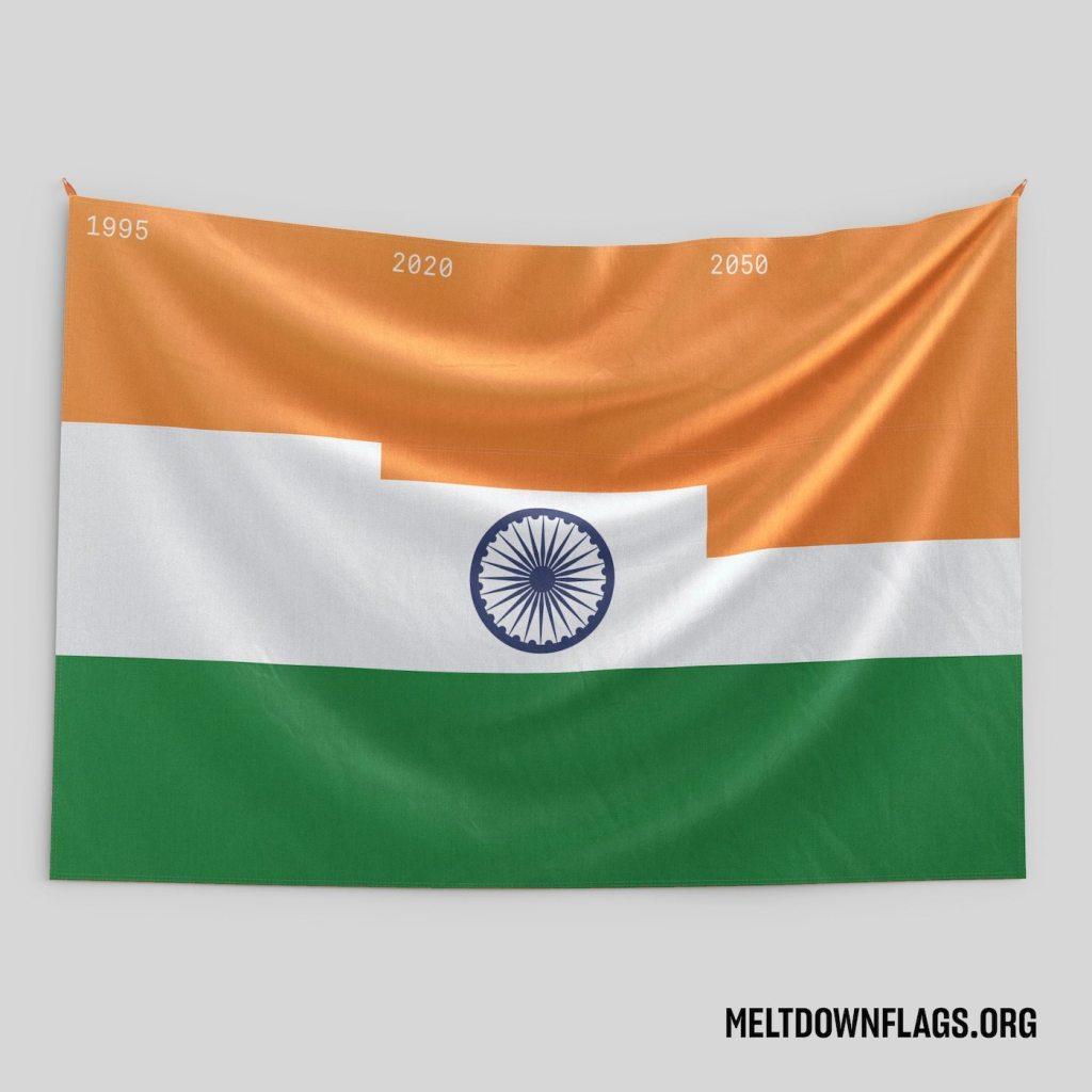 Le drapeau de l'Inde selon l'évolution de la fonte des glaces