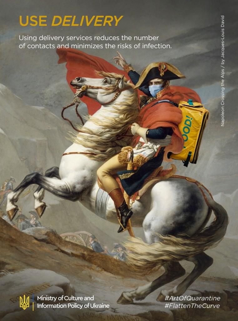"""Détournement du tableau """"Bonaparte franchissant le Grand-Saint-Bernard"""" par Jacques-Louis David"""