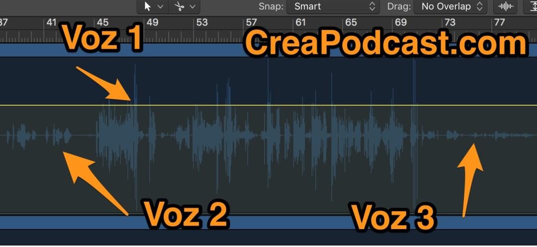 Mejorar la calidad de una grabación con varias voces a distintos volúmenes.