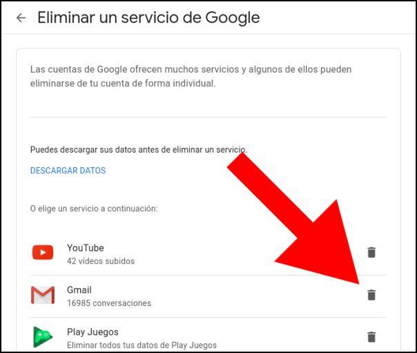 eliminar servicio de Google