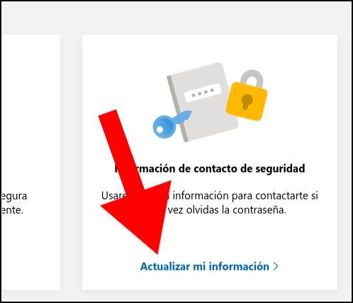 información de contacto de seguridad