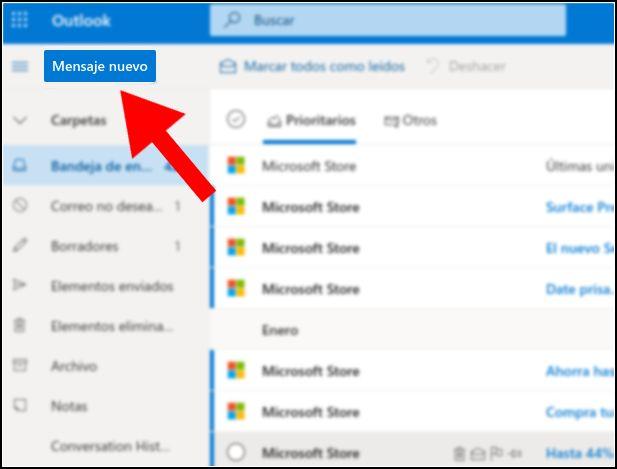 pantalla principal de correo electrónico