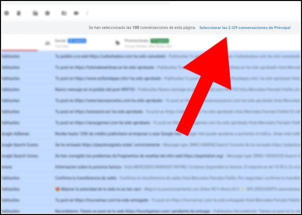 seleccionar todas las conversaciones de Gmail