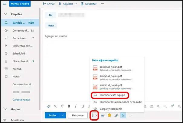 Adjuntar en Outlook