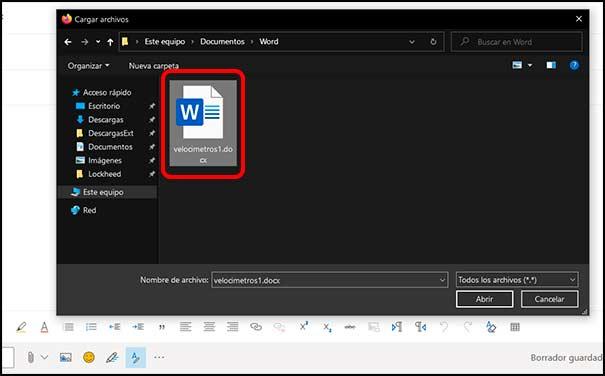 Seleccionar archivo Outlook