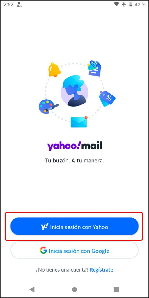 Iniciar aplicación Yahoo