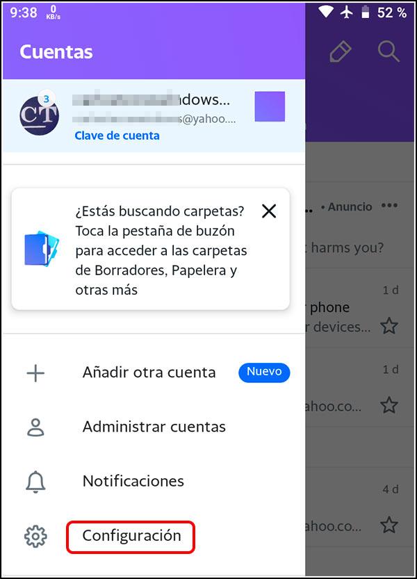 Aplicación Yahoo Mail Configuración