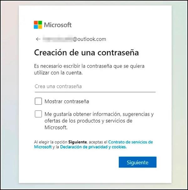 Crear password Outlook