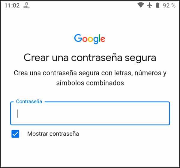 Establecer contraseña gmail