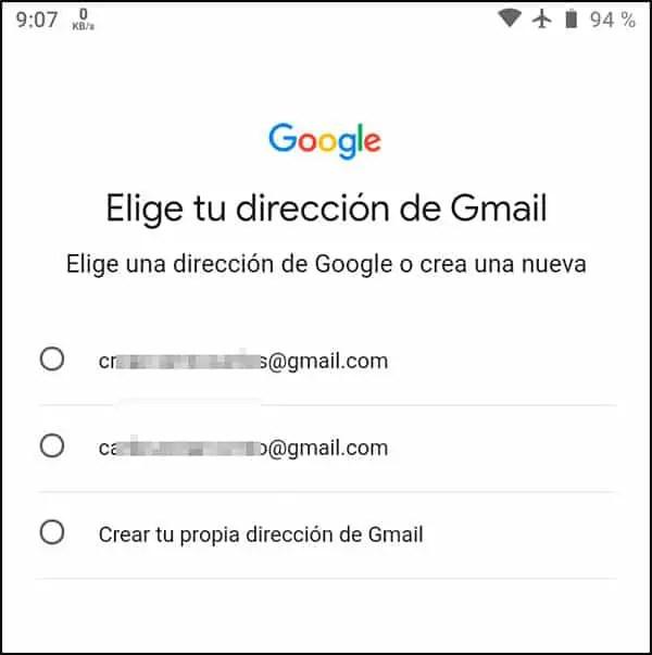 Crear dirección Gmail