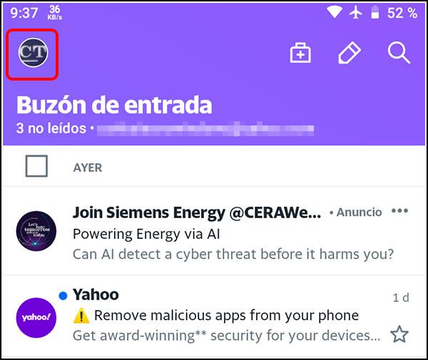 Icono cuenta Yahoo Mail Aplicación
