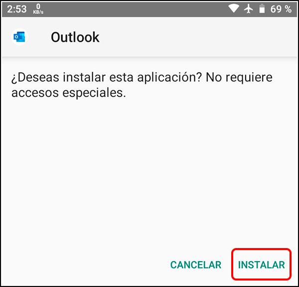 Instalar APK Microsoft Outlook