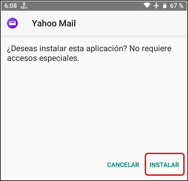 Instlación APK de Yahoo Mail