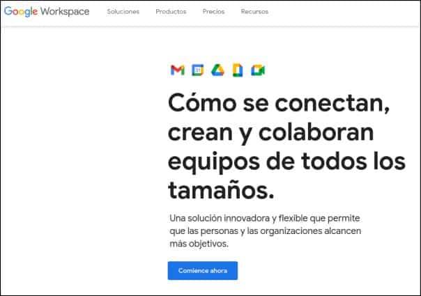 inicio de Google Workspace