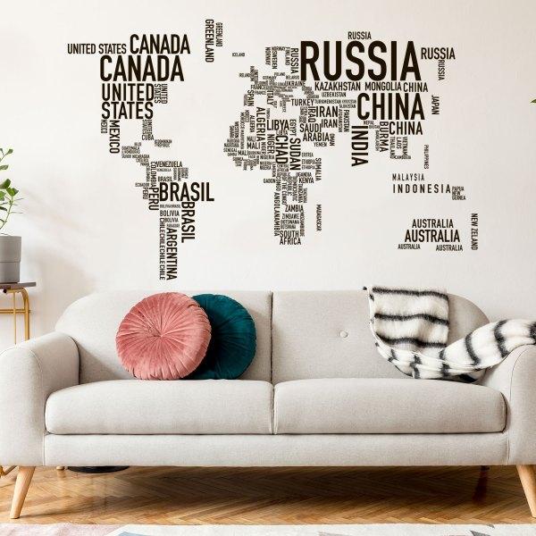 Adesivi da parete MAPPAMONDO SCRITTE 185 x 120 di CreArtDesignItaly