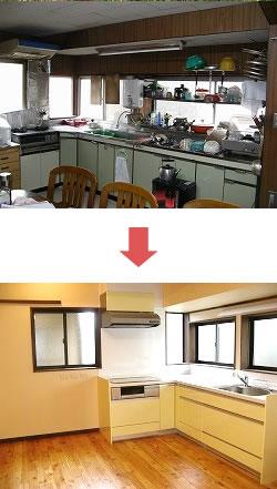 L型キッチンを新調し、サッシや内壁材等も交換