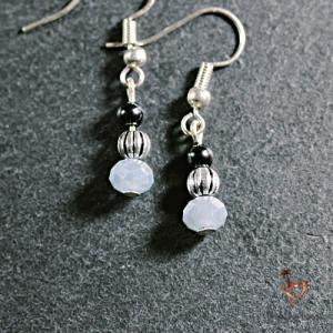 Boucles d'oreilles Hematite perles de verre
