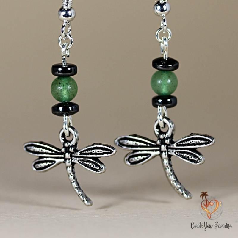 Boucles d'Oreilles Libellule Jade & Hematite