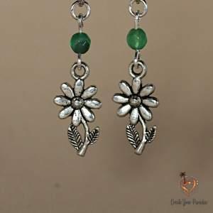 Boucles d'Oreilles Fleur Agathe Verte