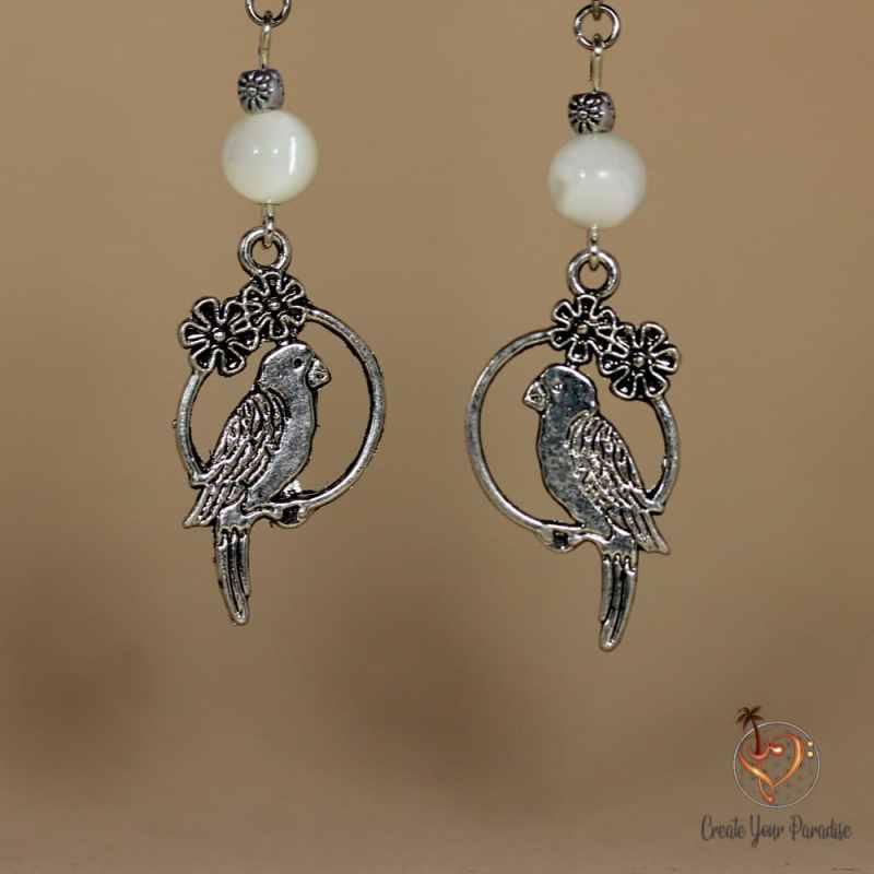 Boucles d'Oreilles Oiseau Nacre