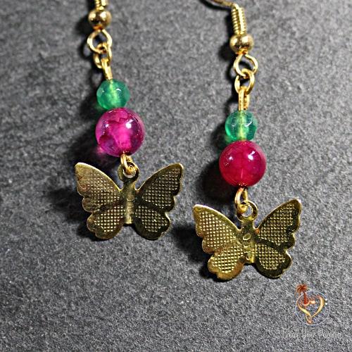Boucles d'oreilles Agathes Vert et Rose