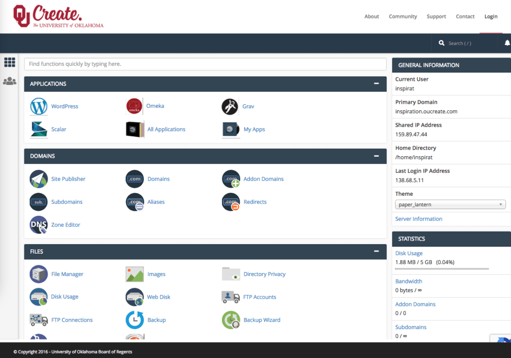 Screenshot of the control panel in OU Create showing the many icons and links for various software and configuration controls.