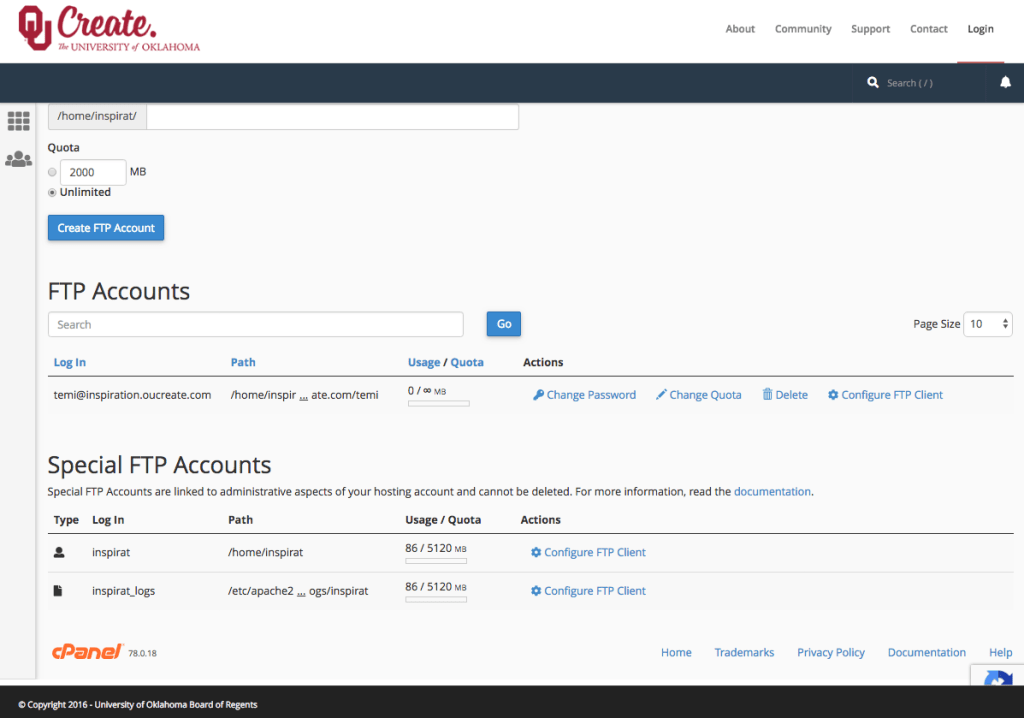 A screenshot of the OU Create FTP Accounts screen. Here, you can see all FTP accounts associated with your account and configure them.