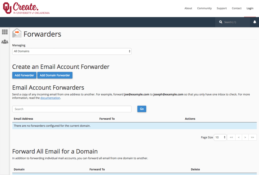 A screenshot showing the forwarders tool in OU Create. Blue buttons for add forwarder and add domain forwarder connect users to the core functionality of this tool.