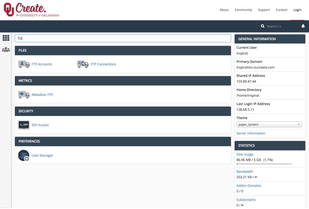 Screenshot of the OU Create cPanel with the search bar being used to filter for tools related to FTP.