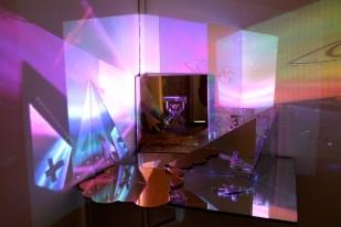title: Heavenly year:2013 medium: lasercut acrylic, mirror, digital video projection