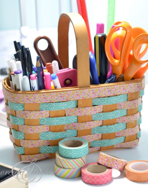 Washi Taped Basket_createandbabble