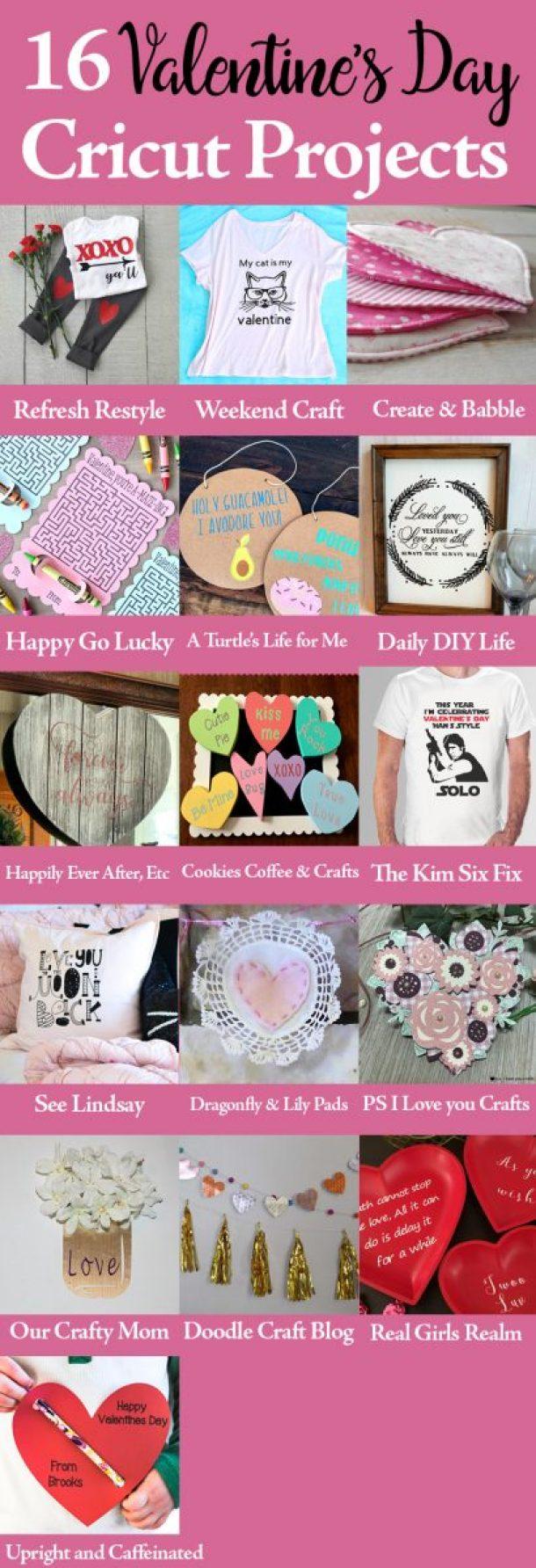 16 Valentine's Day Cricut Projects. #cricut #cricutprojects #valentine #valentinesday