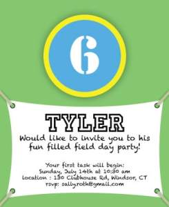 Tyler's Field Day Invite