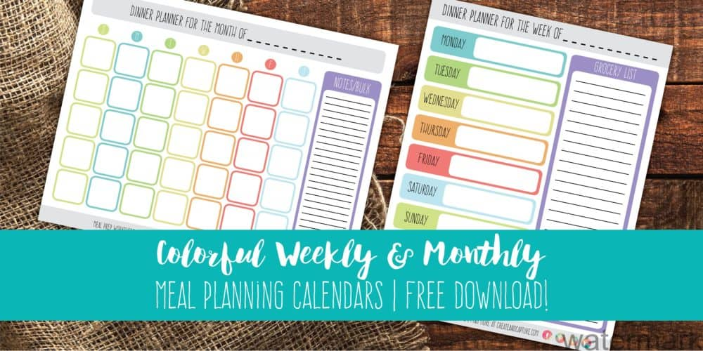 Colorful Weekly & Monthly Meal Planning Calendars | Free Download