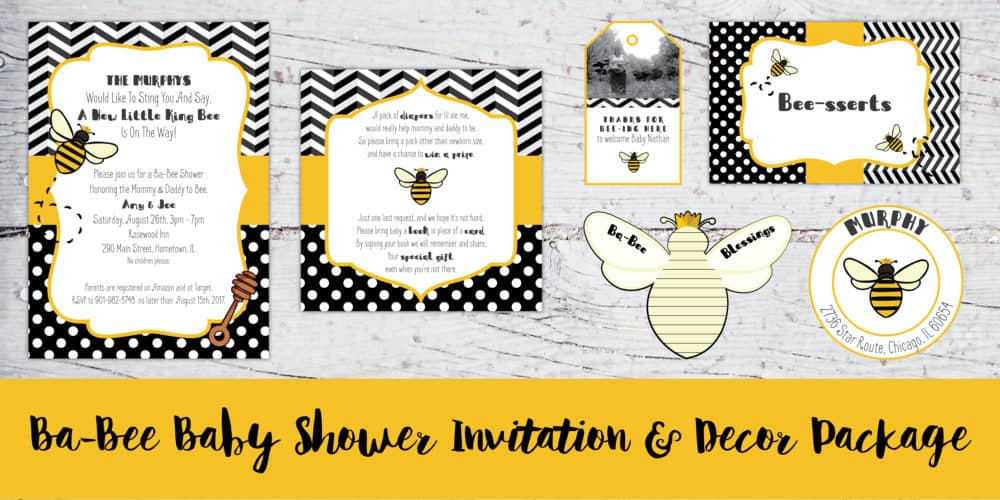 Ba bee baby shower invitation decor package createcapture filmwisefo