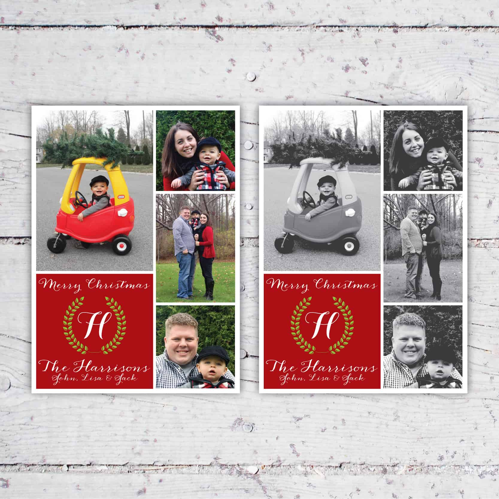 Christmas Wreath Family Photo Collage Christmas Card or Holiday Card | 5x7 | Digital Download | Printable | Christmas Wreath Holiday Card