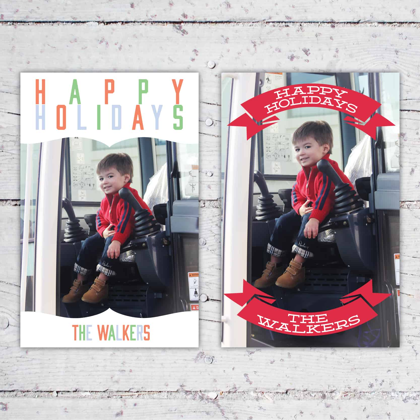Custom Happy Holidays Photo Card | 5x7 | Holiday Card Christmas Card | Retro Style Photo Holiday Card | Retro Christmas Photo Card