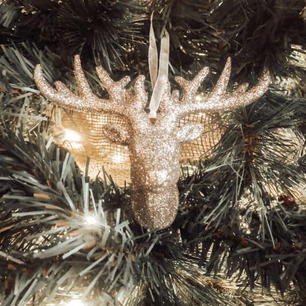 Maker's Holiday Christmas Glitter Deer Head Ornament-Rose Gold