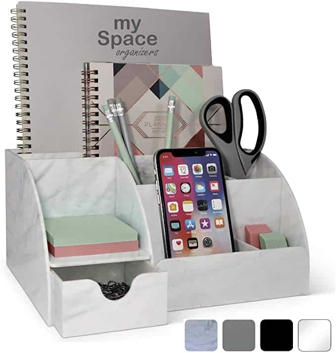 Acrylic Office Desk Organizer with Drawer | Marble Back To School Supplies Create&Capture