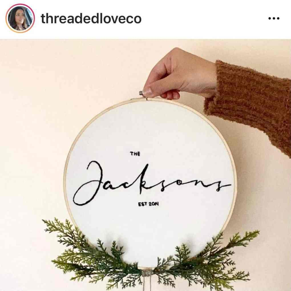 """Custom 10"""" Family Name Hand Embroidered Wall Hanging from Threaded Love Company on Etsy 