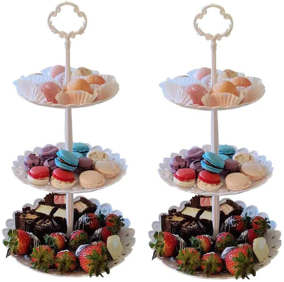 Set of 2 Pieces 3 Tier Dessert Stand   Alice In Wonderland Themed Birthday Party   Create&Capture