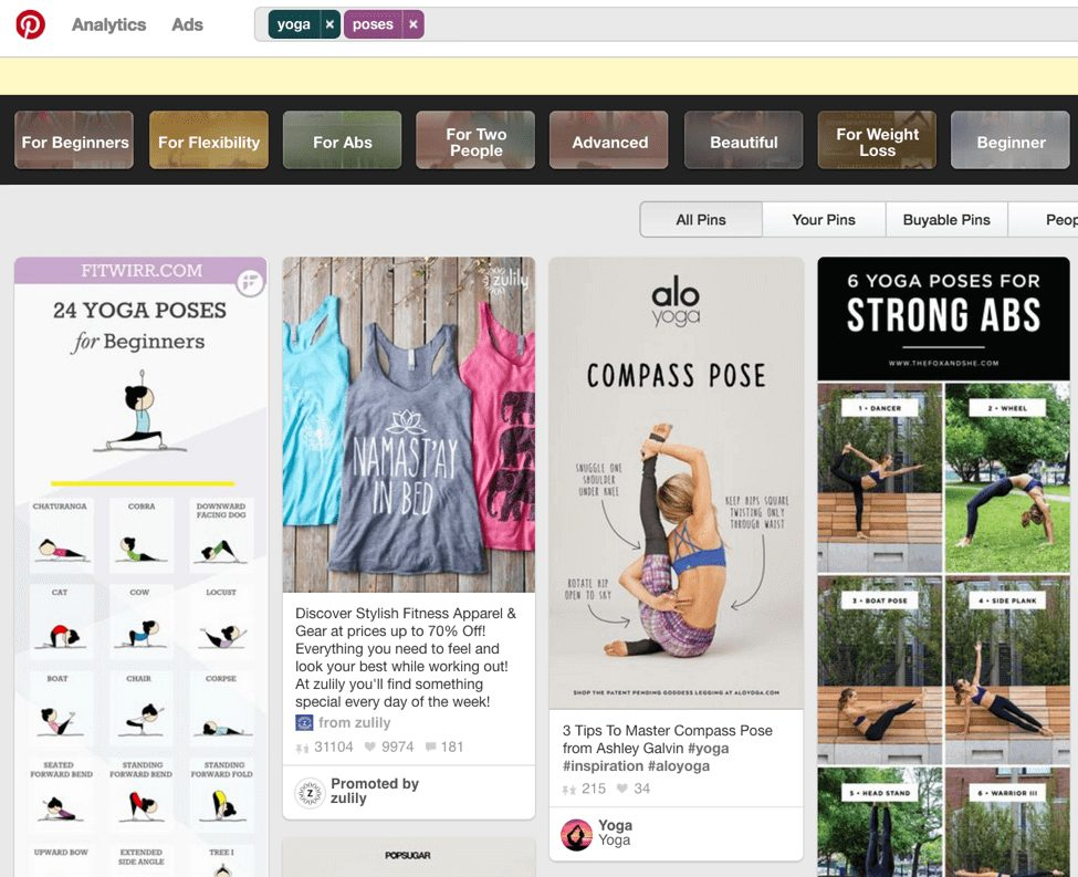Pinterest search for yoga poses to monetize your blog